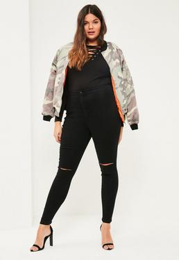 Plus Size Black Vice High Waisted Skinny Jeans