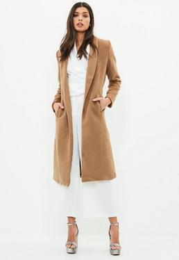 Abrigo largo de pelo sintético corto en marrón