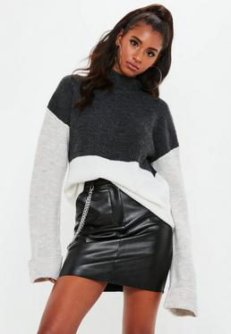 Gray Color Block High Neck Sweater