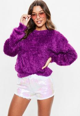 Purple Dolam Eyelash Knitted Jumper