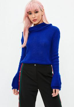 Blue Roll Neck Sweater