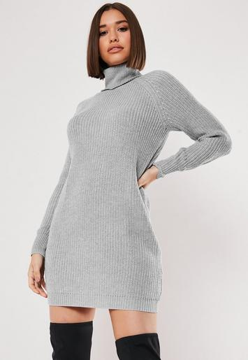 Grey Chunky Roll Neck Jumper Dress Missguided