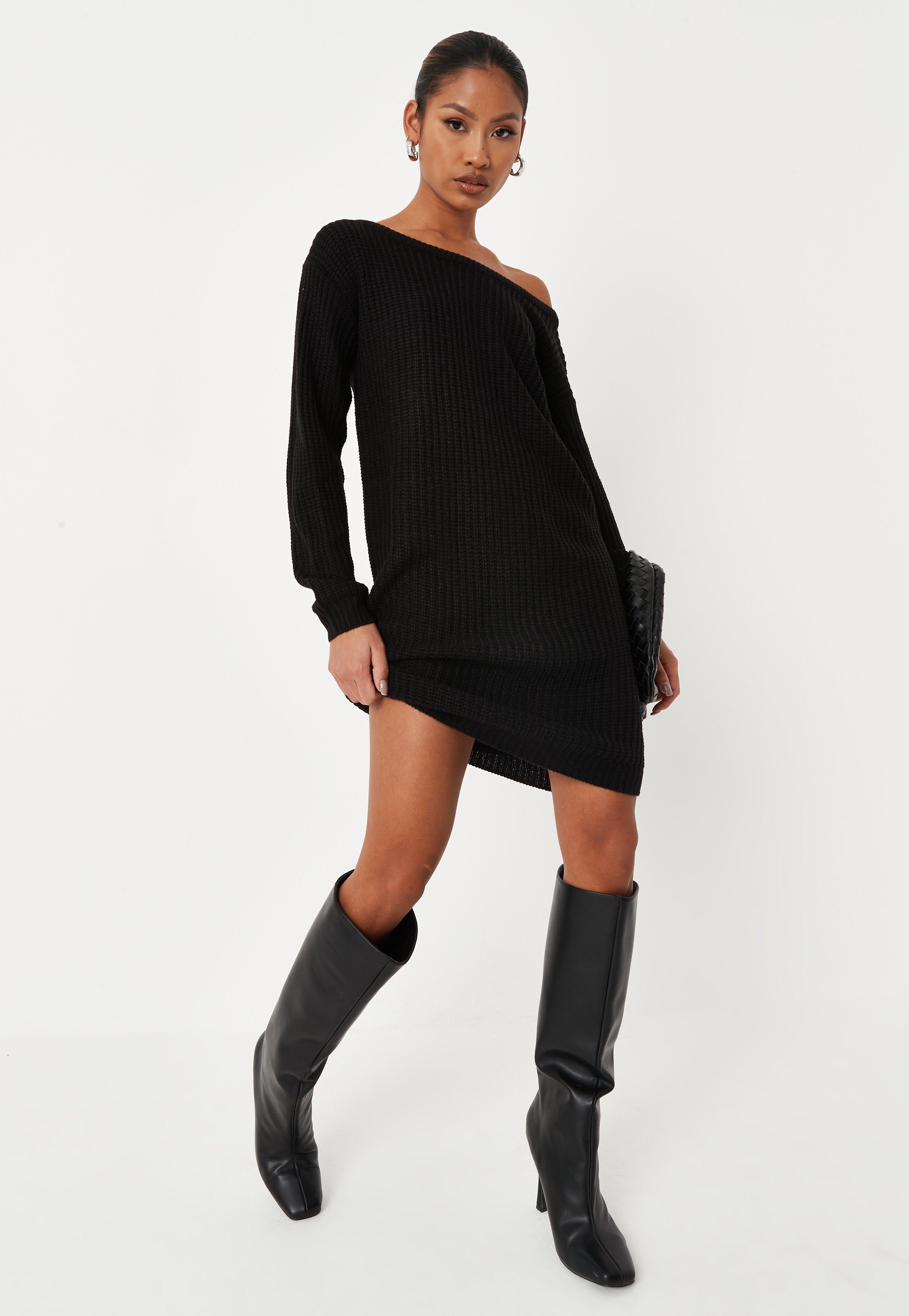 bf70e32c3cfe6 Black Off The Shoulder Knitted Jumper Dress
