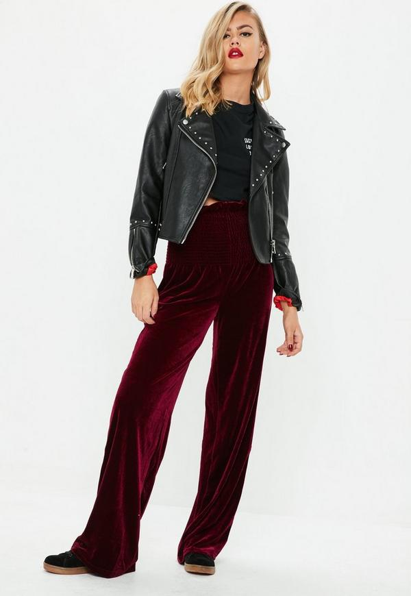 Burgundy Velvet Wide Leg Trousers Missguided