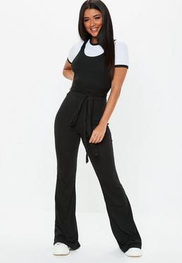 c931a2495690 Black Multiway Ribbed Pinafore Jumpsuit