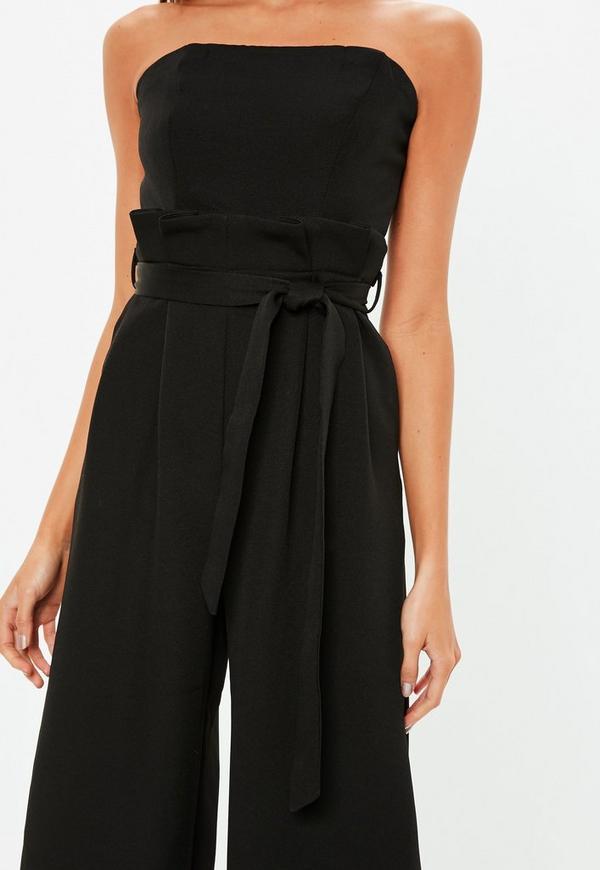 Black Bandeau Paper Bag Wide Leg Jumpsuit Missguided