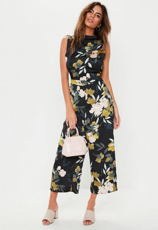 a3ad38070278 Black Open Back High Neck Culotte Jumpsuit