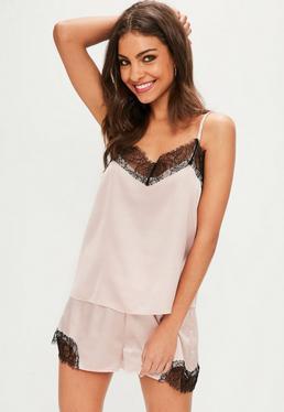 Nude Satin Lace Pyjama Set
