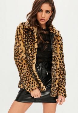 Leopard Print Peter Pan Collar Faux Fur Coat