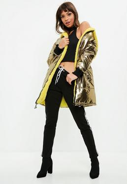 Tall Gold Metallic Fur Lined Bubble Coat