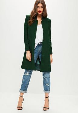 Green Wool Longline Coat