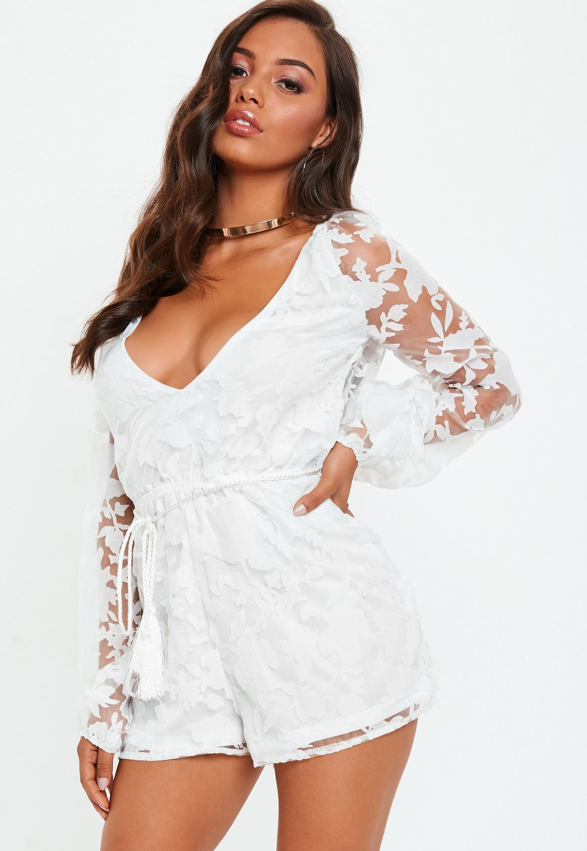 868dfab91c Missguided - White Sheer Floral Print Deep Plunge Playsuit