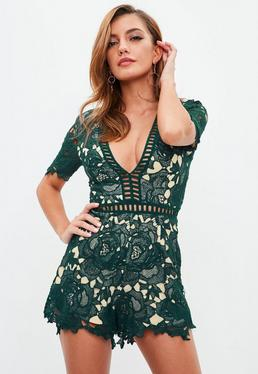 Teal V Neck Lace Playsuit