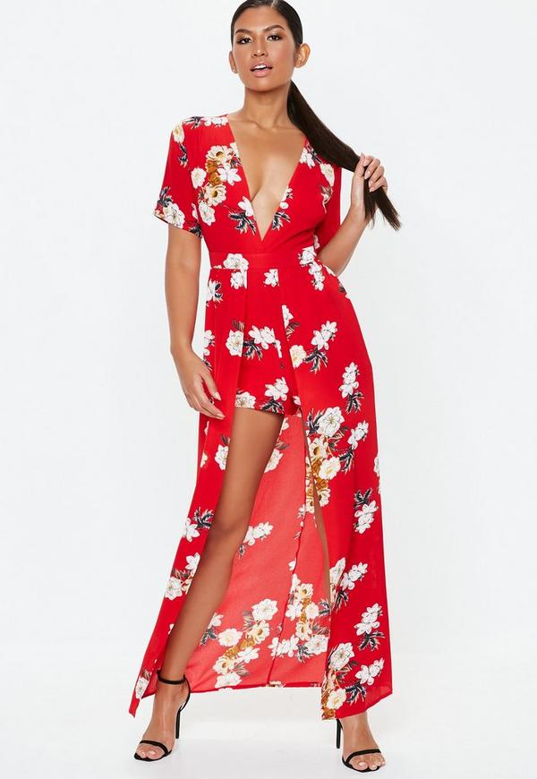 Red Crepe Maxi Overlay Floral Playsuit