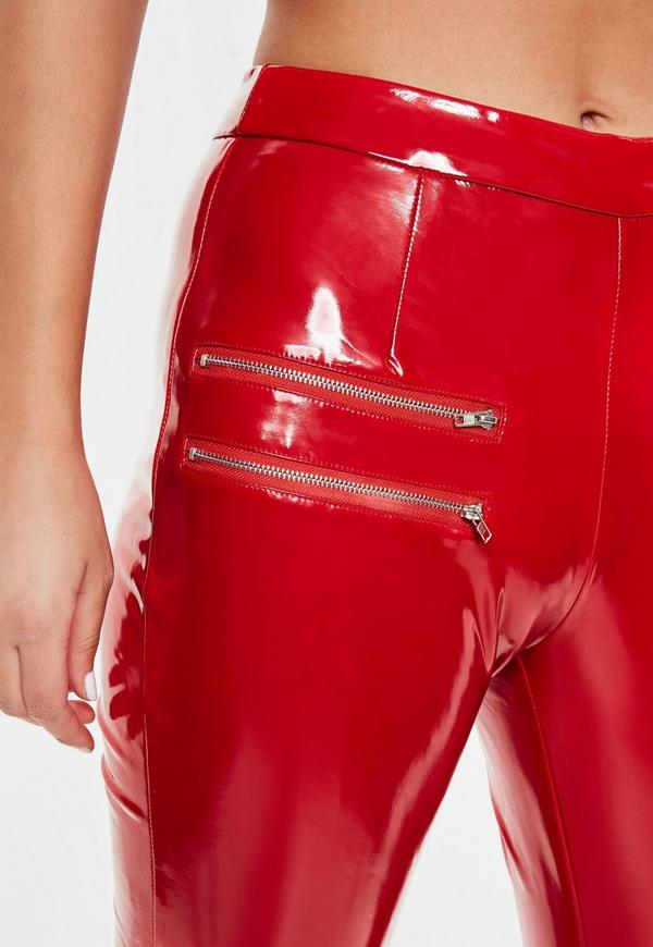 Red Vinyl Zip Detail Pants