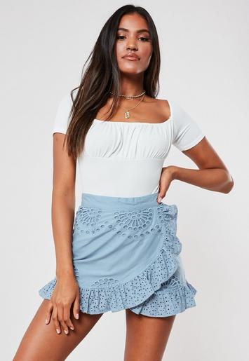 Blue Broderie Anglaise Frill Layer Mini Skirt by Missguided