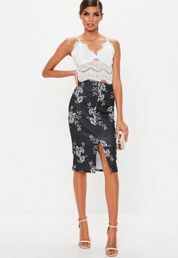 Black Pleated Satin Mini Skirt