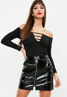 Black Vinyl Zip Detail Mini Skirt