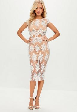 White Mesh And Lace Skirt