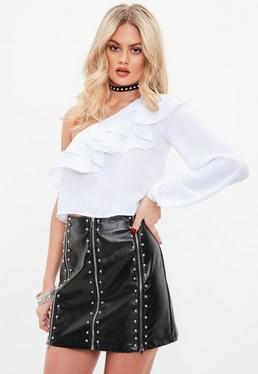 Black Faux Leather Studded Mini Skirt