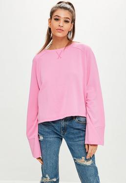 Sudadera con mangas anchas en rosa