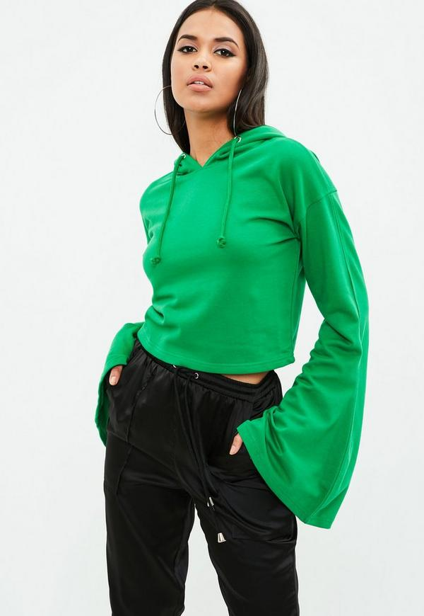 Lyst - Forever 21 Laid Back Cropped Hoodie in Green  Green Cropped Hoodie