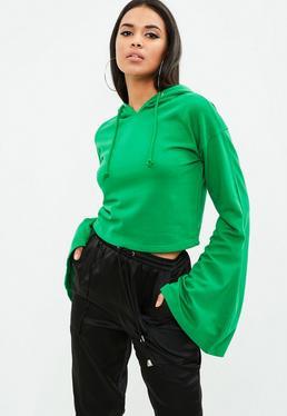 Green Cropped Flared Sleeve Hoodie