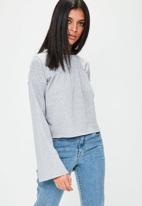 Grey Flared Sleeve Jersey Top