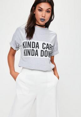 Grey Kinda Care Kinda Don't T-Shirt
