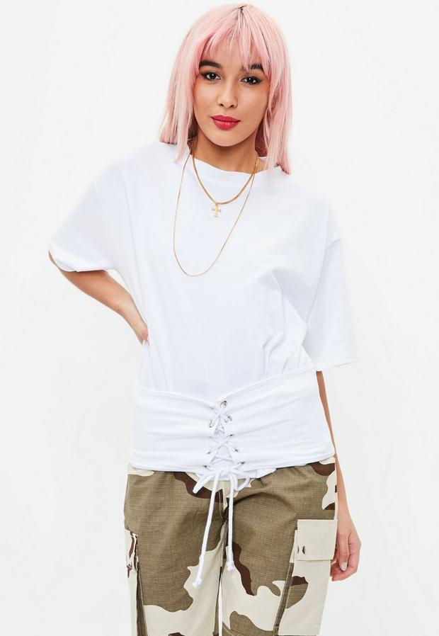 Product photo of White corest detail jersey top white
