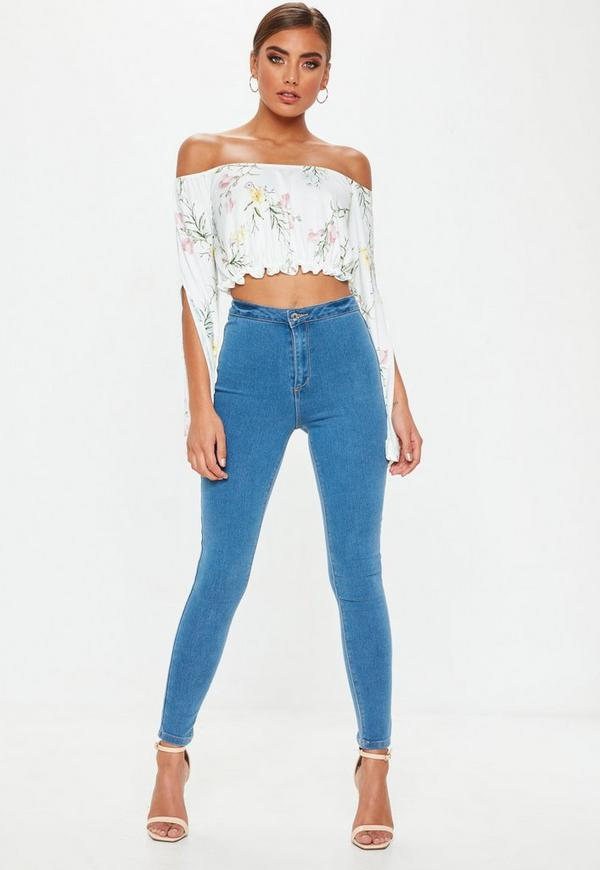 White bardot floral crop top missguided white bardot floral crop top mightylinksfo