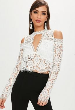 White Cold Shoulder Crop Top