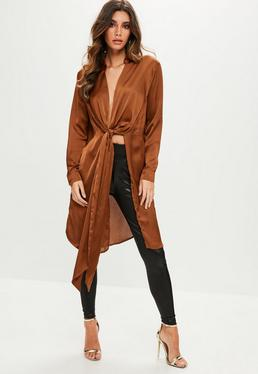 Brown Satin Twist Front Blouse