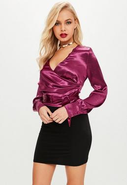 Różowa zawijana satynowa bluzka