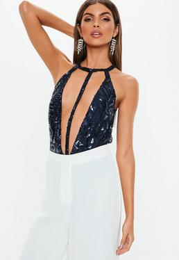 Blue Sequin Embellished Harness Strap Bodysuit