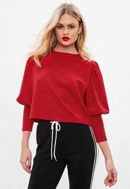 Red Puffball Round Neck Blouse