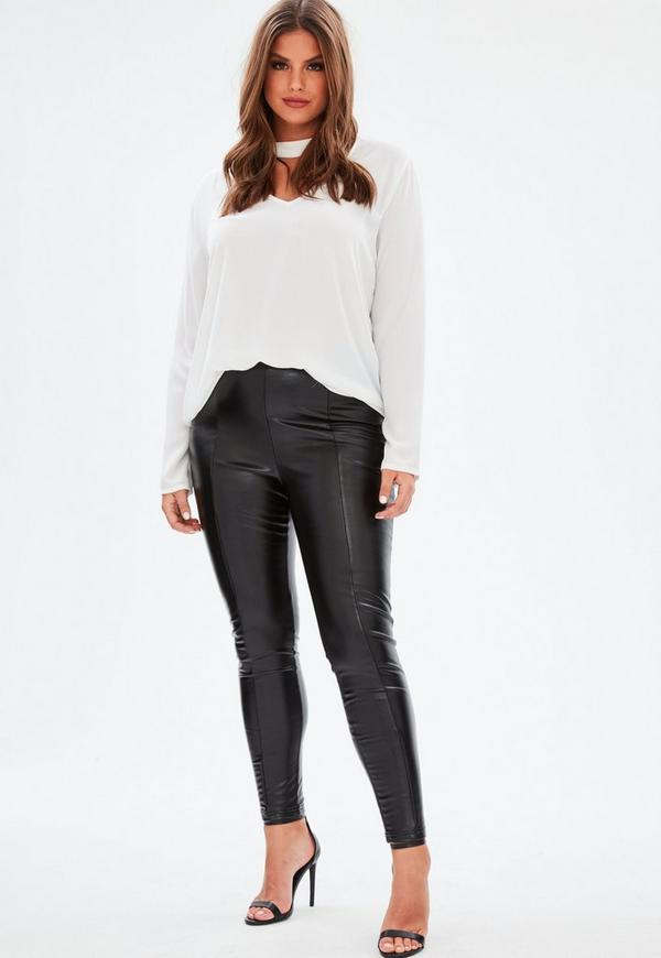 Curve Black Super Stretch Faux Leather Leggings | Missguided