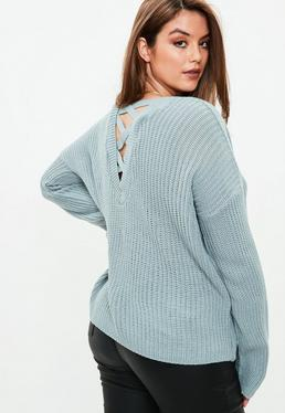 Curve Grey Lace Up V Back Knitted Jumper