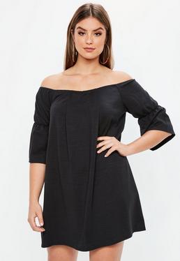 Curve Black Bardot Ponte Mini Dress