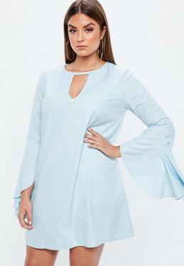 Curve Blue Frill Sleeve Bar Detail Dress