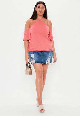 e0eba771b6d Plus Size Black Coated Oversized Shirt · Plus Size Coral Cold Shoulder Top