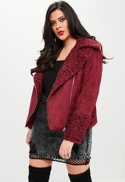 Curve Burgundy Shearling Borg Aviator Jacket