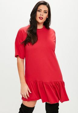 Plus Size Czerwona sukienka T-Shirt
