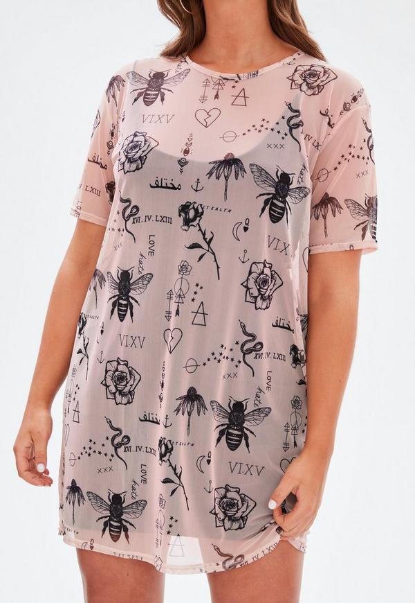 Curve pink tattoo print mesh t shirt dress missguided for Mesh tattoo shirt