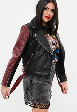 Curve Black Faux Leather Panel Biker Jacket