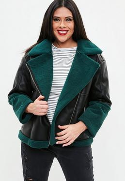 Curve Black Premium Faux Sherling Aviator Jacket