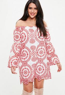 White And Red Embroidered Dress