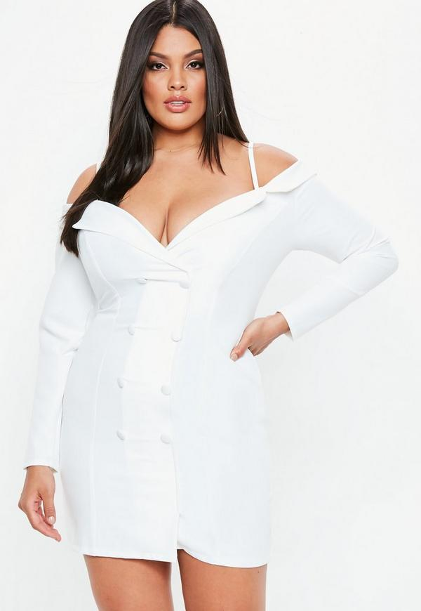 Curve White Bardot Blazer Dress by Missguided