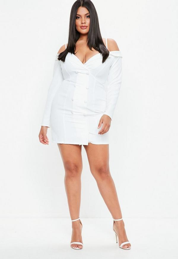 Plus Size White Bardot Blazer Dress Missguided