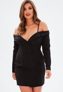 Curve Black Open Shoulder Tuxedo Dress